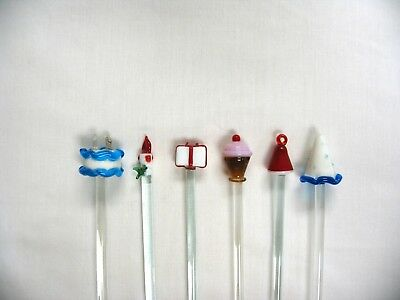 Assorted Blown Glass Swizzle Sticks Lot of 6 Party Theme