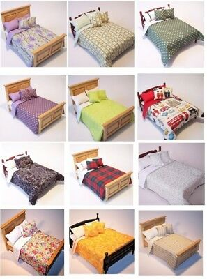 Dolls House Bedding Set-1/12 Handmade-Double Bed size /Group 3/New Colours 15/11