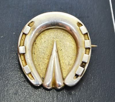 Antique Victorian SOLID SILVER & Gilt LUCKY HORSESHOE Heavy Brooch / Pin