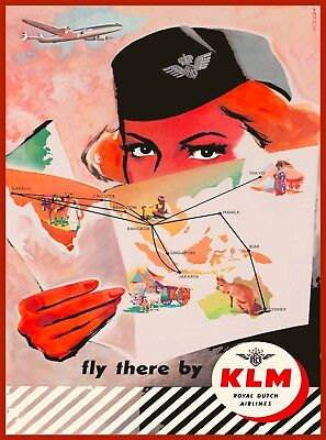 KLM Holland Royal Dutch Netherlands Vintage Airline Travel Advertisement Poster