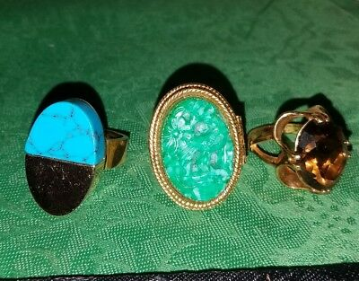 Lot of 3 Vintage BIG FANCY RINGS~Avon Compote,Gold/Turquoise,Purple Gemstone!