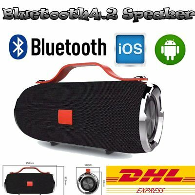 Tragbarer Wireless Bluetooth Lautsprecher Stereo Boom Soundbox SD USB Wasserfest