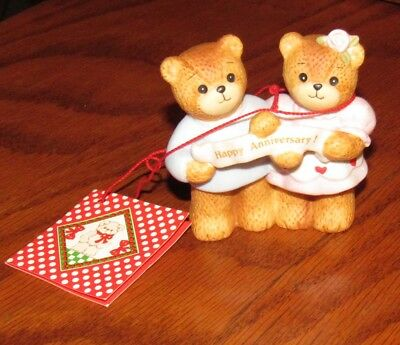 Vtg New Old Stock Lucy & Me, Boy & Girl Bear Figurine w/Happy Anniversary Banner