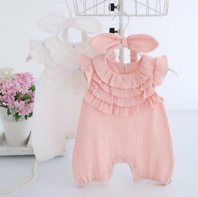 Newborn baby girls clothes summer bodysuit+headband party daily cotton jumpers