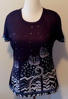 LAUREL BURCH Womens Size L Large  T-Shirt Tee Top Cats Black Gray Blue NEW NWT