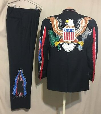 Men's Suit Americana Rockabilly Western Nudie Inspired Rhinestone Ooak