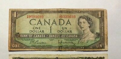 Canada 1954 Bank of Canada $1 almost SOLID 9 S/N#99 99 6 99