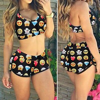 Black Emoji Size S Sleeveless Crop Top and Dolphin Style Shorts 2-Piece Set NWOT