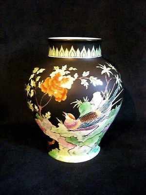Hand Painted Tuscan China Famille Noir Baluster Vase