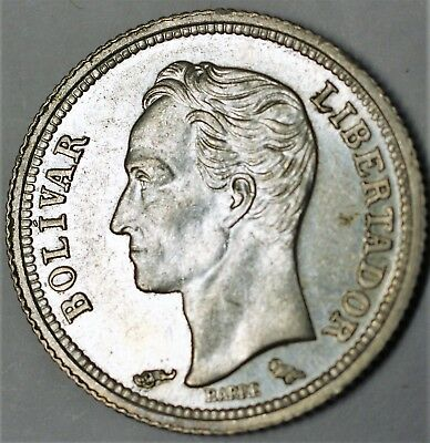 1960 Venezuela 25 Centimos Almost Uncirculated Silver Dime Sized Coin