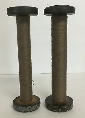 Vintage Lot Of 2 Wood Thread Spools Industrial Textile Display Stands Bobbin