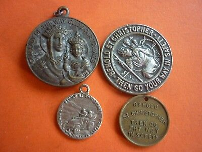 4 x VINTAGE ST CHRISTOPHER MEDALS - PATRON SAINT OF TRAVELLERS
