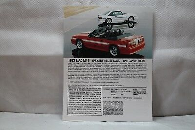 1993 SAAC Ford Mustang Specifications sheet-Dealers ONLY