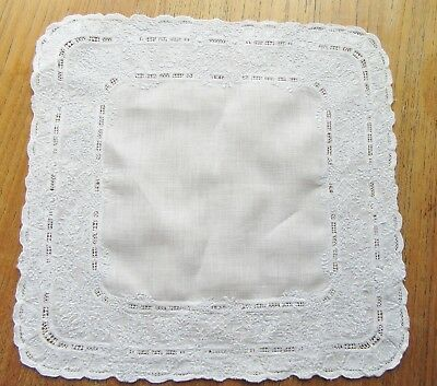 Vintage Handkerchief Whitework Pierced Heavily Embroidered Wedding Hanky B