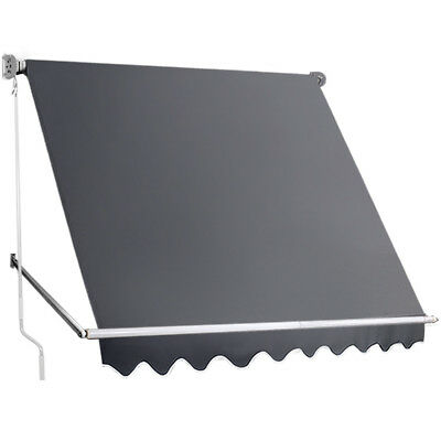 NEW Grey Retractable Straight Drop Roll Down Awning i.Life Outdoor - Accessories