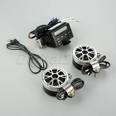 12V Motorcycle FM MP3 MP4 Audio Radio System w 2 Speakers For Harley Tour Glide