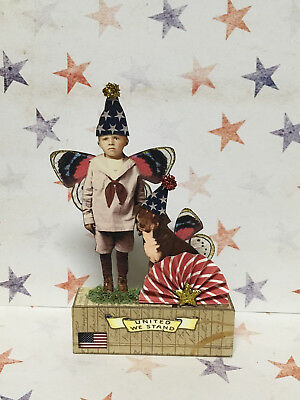 altered art fairy miniature paper pixie 4th of July wood block vtg look