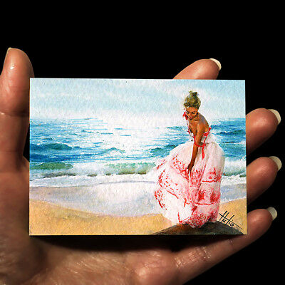 """ORIGINAL HAND PAINTING DRAWING ART WATERCOLOR PICTURE MINIATURE """"Woman and Sea"""""""