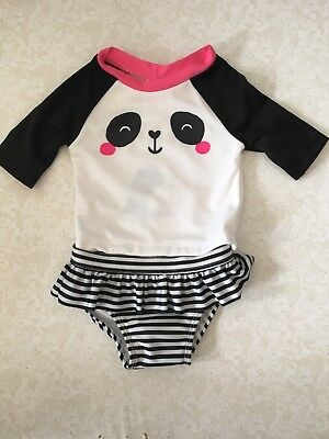 Gymboree NWT Baby Girl 3-6 Months Panda Swimsuit Bathing suit Rash Guard