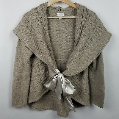 A Pea In the Pod Womens Sweater Size L Oatmeal Open Front Cardigan Satin Belt