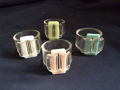 VINTAGE 1950s 4 CLEAR EARLY PLASTIC NAPKIN Serviette RINGS. Pastel Bow.