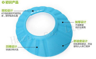 Bath Hat Soft Thickened Adjustable Shower Shampoo Wash Hair Shield for Baby Blue