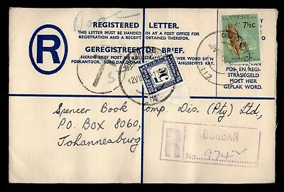 DR WHO 1963 DURBAN SOUTH AFRICA CANCEL REGISTERED LETTER POSTAGE DUE  d24318