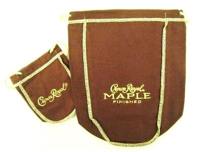 Crown Royal Bags Maple Brown 50ml, 750ml Happy Holidays Cotton Drawstring NOS