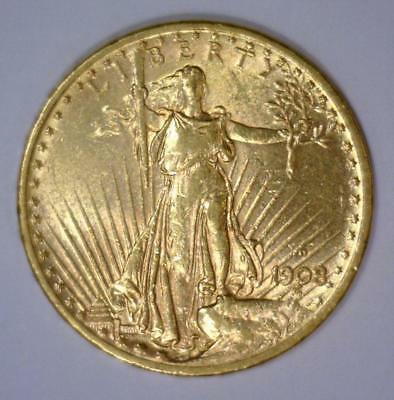1908-D $20 St. Gaudens WITH MOTTO Double Eagle AU Lot 1672P