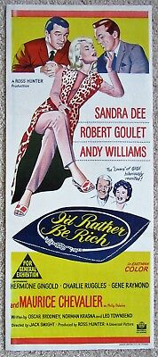 I'd Rather Be Rich Original 1964 Aus Db Movie Poster Folded Sandra Dee Nm