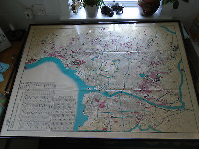 Vintage Japanese Hand Drawn Hand Coloured Map Tokyo