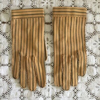 Le Gant Hermes Vintage Wear-Right Gloves - Yellow Size 6 - Retro Stripe