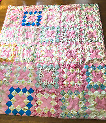 Vintage 50s PATCHWORK QUILT Colorful Cotton Traditional Squares Handmade Blanket