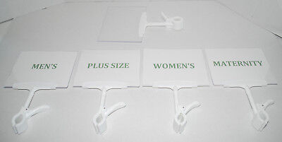 Store Department Size Divider Signs Clip-on Racks Plastic Consignment Shop SET 5