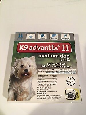 Brand New!  K9 Advantix II Medium Dog 11-20lbs 2 Pack