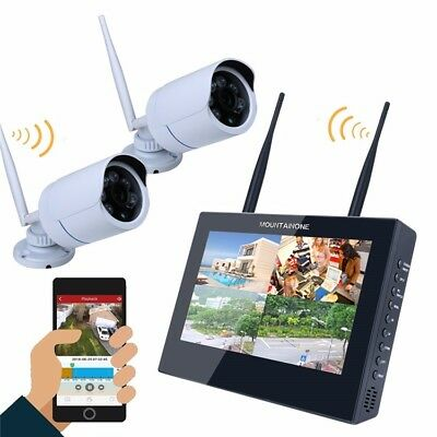ENNIO SY1003FD12 10 inch TFT 4CH 960P Wireless DVR Video Security System Two Bul