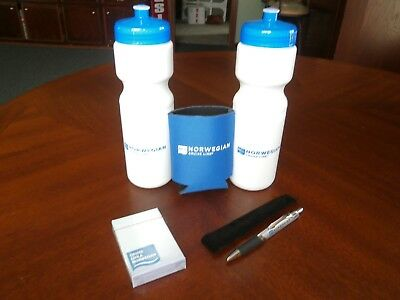 Norwegian Cruise Lines Logo Water Bottle, Coozie, Playing Cards, Pen Lot Of 5