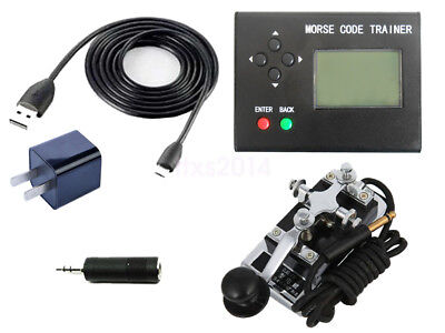 Morse Code Trainer Shortwave Radio Telegraph CW Key Learning Radio + K4 key