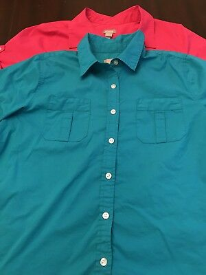 Lot of 2 short sleeve shirts Chico's chicos cotton button up size 1 small 4 6