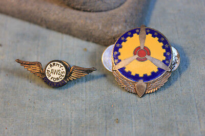 Wwii Army Air Corp Forces Aws Wings Observer Sterling Us Enamel Propeller Pin