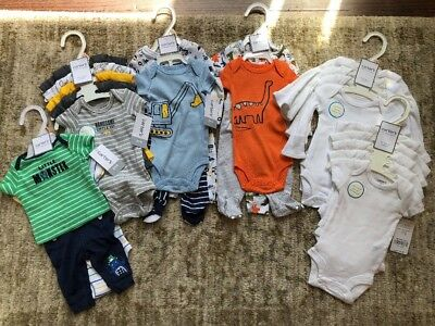 Large Lot of Carter's Preemie Baby Boys Infant Clothes 23 Pieces 6 Sets NEW!