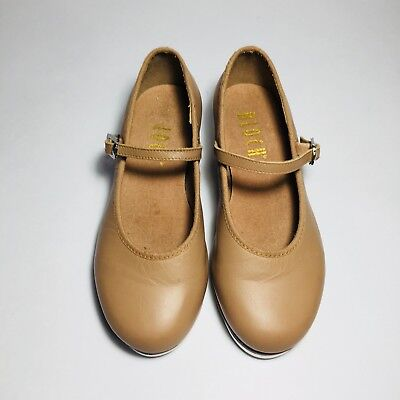 Bloch Girl Tan Techno Tap Leather Dance Shoes Size 11.5 Mary Jane Style 11 1/2