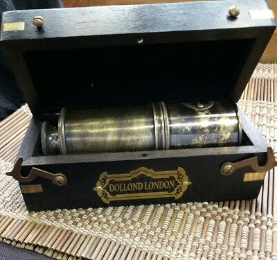 SOLID BRASS NAUTICAL TELESCOPE SPYGLASS IN WOODEN BOX Dollond London