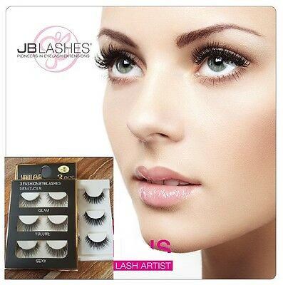 3pcs 3D Real Mink Natural Cross Long Thick Eye Lashes False Eyelashes Makeup