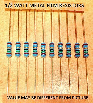10 pcs 1/2 watt 1% metalfilm resistors VARIOUS VALUES YOU CHOOSE
