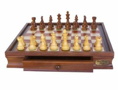 """Dal Rossi Chess Set 16"""" With Boxwood/Sheesham 85mm Double Weighted Pieces"""