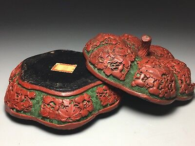 Antique Chinese Red & Green Carved Cinnabar Lacquer Pumpkin Shape Covered Box