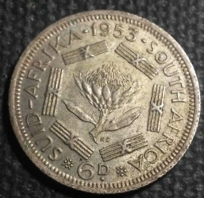 South Africa 1955 Silver 6 Pence,Rev: Protea flower