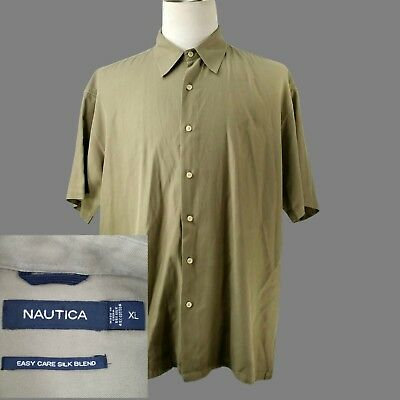 3c96e46e2fb781 NAUTICA~ISLAND~NEW~MEN S XL~SILK COTTON~TAN~S S Camp Cuban Casual ...