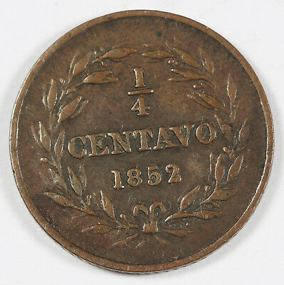 Venezuela 1852 (I) 1/4 Centavo Copper Coin VF Y# 4 Scarce